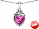 Original Star K™ Loving Mother With Child Family Pendant With 8mm Heart Shape Created Pink Sapphire style: 303898