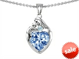 Original Star K™ Loving Mother With Child Family Pendant With Heart Shape 8mm Simulated Aquamarine style: 303900