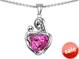 Original Star K™ Loving Mother With Child Hugging Pendant With 8mm Heart Shape Created Pink Sapphire