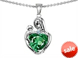Original Star K™ Loving Mother With Child Hugging Pendant With 8mm Heart Shape Simulated Emerald