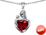 Original Star K™ Loving Mother With Child Hugging Pendant With 8mm Heart Shape Created Ruby style: 303908