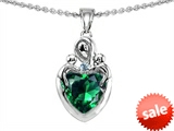 Original Star K™ Loving Mother Twin Children Pendant With 8mm Heart Shape Simulated Emerald