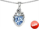 Original Star K™ Loving Mother Twin Children Pendant With 8mm Heart Simulated Aquamarine style: 303920
