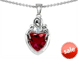 Original Star K™ Loving Mother Twin Children Pendant With 8mm Heart Created Ruby style: 303921