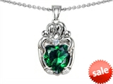 Original Star K™ Loving Mother And Twins Family Pendant With Heart Shape Simulated Emerald