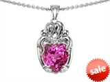 Original Star K™ Loving Mother And Twins Family Pendant With 8mm Heart Shape Created Pink Sapphire style: 303925