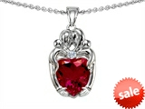 Original Star K™ Loving Mother And Twins Family Pendant With 8mm Heart Shape Created Ruby