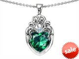 Original Star K™ Loving Mother Twins Family Pendant With 8mm Heart Shape Simulated Emerald