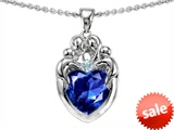 Original Star K™ Loving Mother Twins Family Pendant With 8mm Heart Created Sapphire