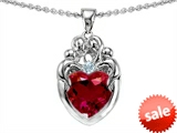 Original Star K™ Loving Mother Twins Family Pendant With 8mm Heart Shape Created Ruby
