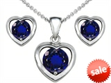 Original Star K™ Created Sapphire Heart Pendant with matching earrings style: 303948