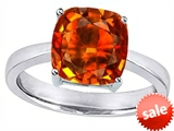 Original Star K™ Large 10mm Cushion Cut Solitaire Engagement Ring with Simulated Orange Mexican Fire Opal style: 303997