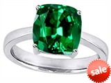 Original Star K™ Large 10mm Cushion Cut Solitaire Engagement Ring with Simulated Emerald style: 303998