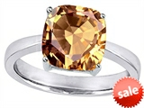 Original Star K™ Large 10mm Cushion Cut Solitaire Engagement Ring With Simulated Imperial Yellow Topaz