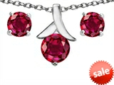 Original Star K™ Created Ruby Round 7mm Pendant with matching earrings style: 304085