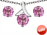 Original Star K™ Created Pink Sapphire 7mm Round Pendant Box Set with matching earrings