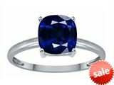 Tommaso Design™ Created Sapphire 7mm Cushion Cut Solitaire Engagement Ring