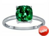 Tommaso Design™ Simulated Emerald 7mm Cushion Cut Solitaire Engagement Ring style: 304107