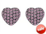Original Star K™ Small Puffed Heart Love Earrings with Created Pink Sapphire style: 304142