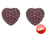 Original Star K™ Small Puffed Heart Love Earrings with Created Ruby