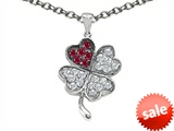 Celtic Love by Kelly Lucky Clover Pendant With Created Ruby style: 304176
