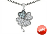 Celtic Love by Kelly Lucky Clover Pendant With Simulated Aquamarine style: 304179