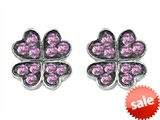 Celtic Love by Kelly Small Lucky Clover Earrings with Created Pink Sapphire