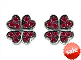 Celtic Love by Kelly Small Lucky Clover Earrings with Created Ruby style: 304184