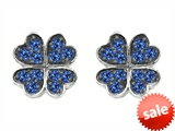 Celtic Love by Kelly Small Lucky Clover Earrings with Created Sapphire