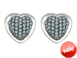 Original Star K™ Heart Shape Love Earrings with Simulated Aquamarine style: 304199