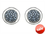 Original Star K™ Round Puffed Earrings with Simulated Aquamarine