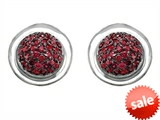 Original Star K™ Round Puffed Earrings with Created Ruby