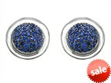Original Star K™ Round Puffed Earrings with Created Sapphire