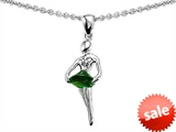 Original Star K™ Ballerina Dancer Pendant with Round 7mm Simulated Emerald