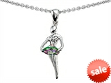 Original Star K™ Ballerina Dancer Pendant with Round 7mm Rainbow Mystic Topaz