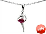 Original Star K™ Ballerina Dancer Pendant with Round 7mm Created Ruby