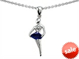 Original Star K™ Ballerina Dancer Pendant with Round 7mm Created Sapphire
