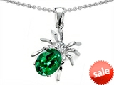 Original Star K™ Spider Pendant With 9x7mm Oval Simulated Emerald