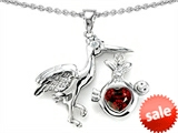 Original Star K™ New Baby Stork Mother Pendant with Genuine Heart Shape Garnet