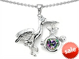 Original Star K™ New Baby Stork Mother Pendant with Heart Shape Mystic Rainbow Topaz