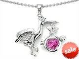 Original Star K™ Baby Stork Mother Pendant with Heart Shape Created Pink Sapphire style: 304261