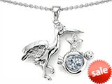 Original Star K™ New Baby Stork Mother Pendant with 8mm Heart Shape Genuine White Topaz