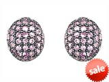 Original Star K™ Oval Puffed Earrings with Created Pink Sapphire