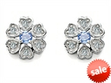Original Star K™ Flower Earrings With Round Simulated Aquamarine