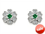 Original Star K™ Flower Earrings With Round Simulated Emerald style: 304318