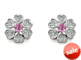 Original Star K™ Flower Earrings With Round Created Pink Sapphire