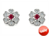Original Star K™ Flower Earrings With Round Created Ruby