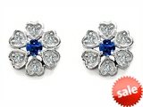 Original Star K™ Flower Earrings With Round Created Sapphire