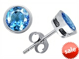 Original Star K™ Classic Round 6mm Bezel Set Earring Studs with Genuine Blue Topaz