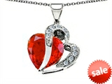 Original Star K™ Heart Shape 12mm Simulated Mexican Fire Opal Pendant